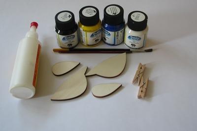 Materiál k výrobě ptáčků z překližky