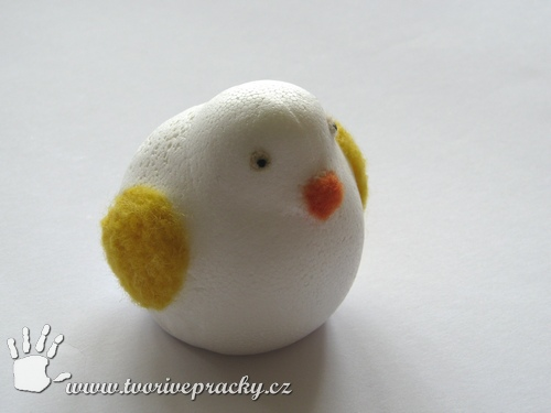 Plstění do polystyrénu - velikonoční kuře