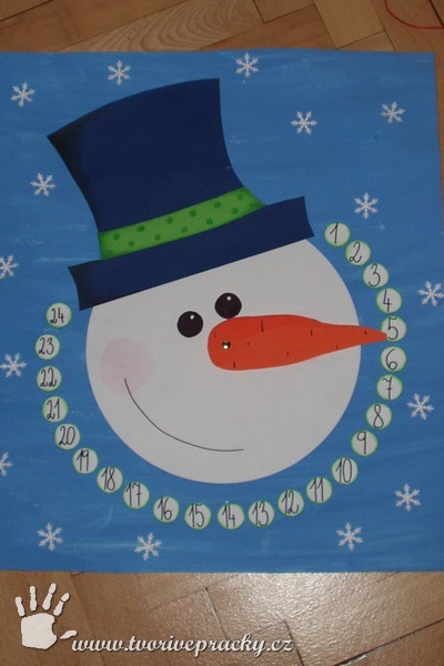 Adventní kalendář - sněhulák z otáčecím nosem