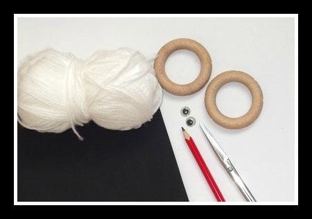 Materiál na výrobu ovečky z kroužku