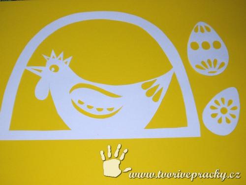 Vystřihnutá slepička s vajíčky