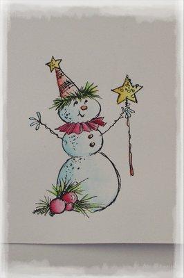 Vybarvené razítko se sněhulákem