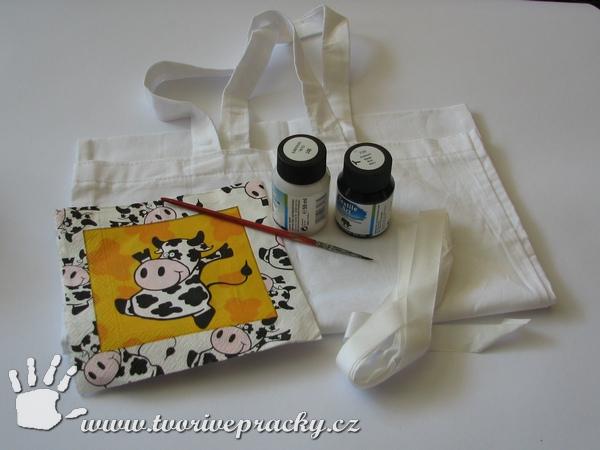 Materiál na výrobu taška s krávou