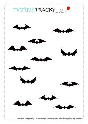Halloweenský pracovní list s netopýry
