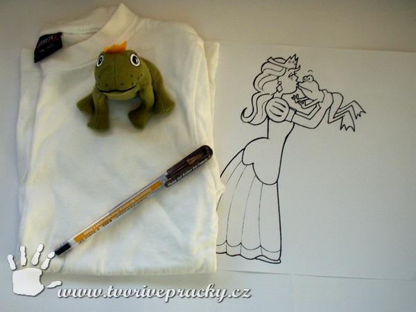 Pomůcky k vytvoření trička s princeznou a žabím princem