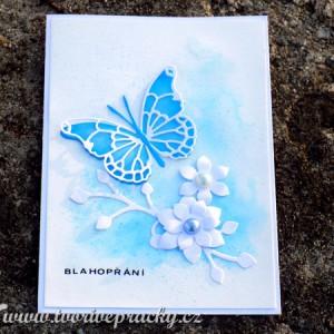 Modré přání s motýlem