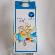 Visačka na láhev - modré letadlo