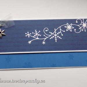 Modrá vánoční obálka na peníze/voucher