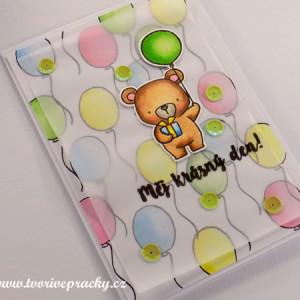 Ručně vyrobené přání s medvídkem a balónky