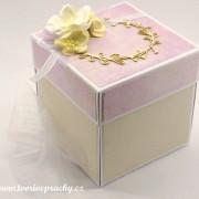 Ručně vyrobená něžná svatební krabička na peníze