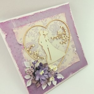 Fialové svatební přání do krabičky s kapsou na peníze