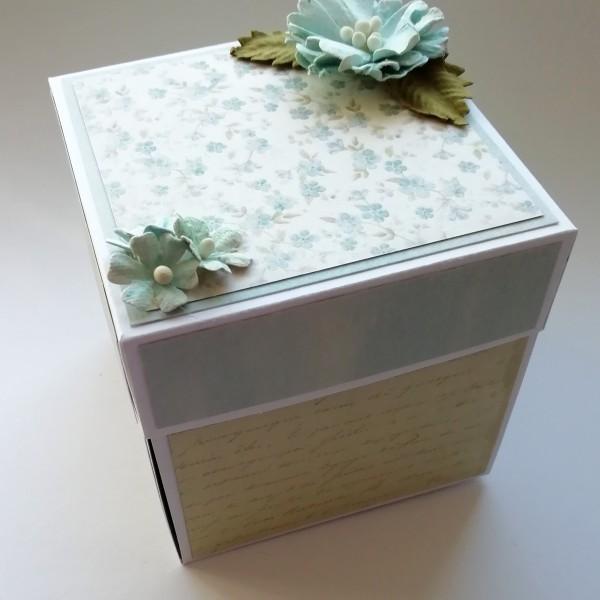 Modro zelená krabička exploding box na darování peněz ke svatbě