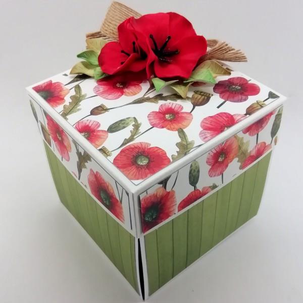 Krabička na darování peněz ke svatbě s vlčími máky