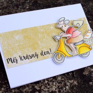 Přání s ženou na motorce